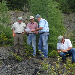 Maine state geologist Robert Marvinney (from left) visits Peaked Mountain in the northern Maine woods in September 2016 with University of Maine Presque Isle geologist Chunzeng Wang, retired University of Southern Maine geologist Steve Pollock and UMPI archaeologist Dave Putnam. The Maine Geological Survey contracted with Wang and Pollack to do bedrock mapping studies in parts of northern Maine.