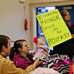Supporters of raising the minimum wage attend an April 2015 meeting hosted by Bangor Councilor Joe Baldacci at Abraham Lincoln School in Bangor.