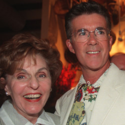 """Alan Thicke (right) and Frau Weisler pose together during a dinner for the cast of the musical """"Chicago"""" in July 1988 in Costa Mesa, California. Thicke died on Tuesday."""