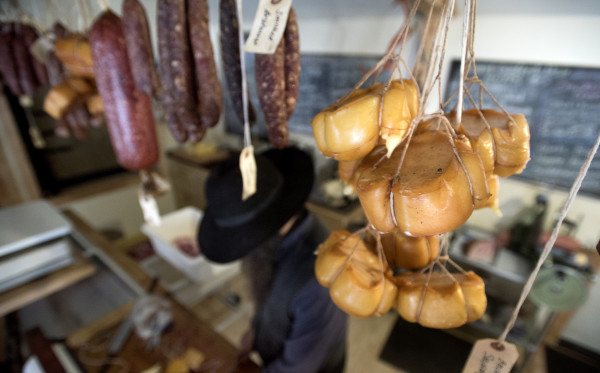 Smoked meat and cheese at Matthew Secich's business, the Charcuterie in Unity, on Dec. 7.