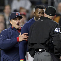 Boston Red Sox manager John Farrell (53) restrains designated hitter David Ortiz (34) as Ortiz yells at home plate umpire Ron Kulpa (46) after both were ejected as against the New York Yankees during a May 6 game. Farrell is making an appearance in Bangor in January.
