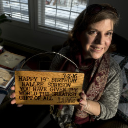 Allyson Seel-Sorenson shows one of the many things people sent her daughter Hallee Sorenson to wish her happy birthday on Wednesday in Bangor.