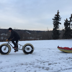 Hank Van Weelden of Alberta, Canada, rides his four-wheel fat-tire bike, which was custom-made by Carver Bikes of Woolwich, in February 2016. He is training for a solo expedition in Antarctica, which is scheduled to begin Dec. 16 and is planned to be more than 700 miles.