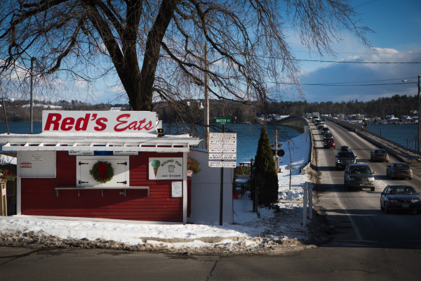Iconic eatery Red's Eats, which stands at a crossroads on Route 1 where traffic often backs up in the summer months, can be seen Thursday in Wiscasset.