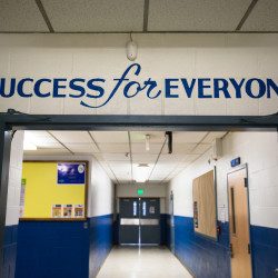 Writing over the door in a hallway of Piscataquis Community Secondary School, which serves the seventh through 12th-grade students of School Administrative District 4. The district's 2016-17 budget was narrowly approved by voters during the Nov. 8 election.