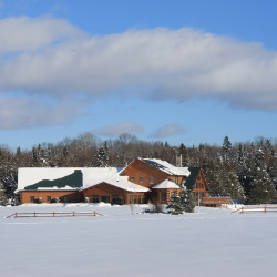 A Katahdin Cedar Log Home owned by Jeff and Sue Vreeland in Presque Isle. Seen from Route 1 in the southern part of Presque Isle, the Vreeland's 10,000-square foot log home was used as a model for larger log homes the company now sells.