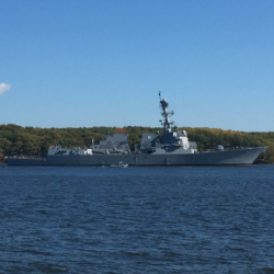The future USS Rafael Peralta leaves Bath Iron Works for sea trails in October.