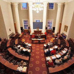 Electors in North Carolina rehearse for the Electoral College vote in the capitol building in Raleigh, North Carolina, Dec. 18, 2016.
