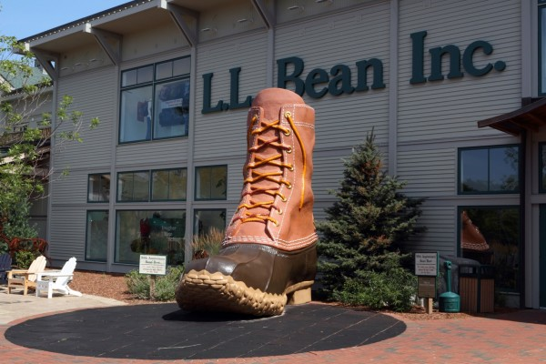 The classic L.L. Bean boot greets visitors at an entrance to its flagship store. The company was founded in Freeport more than a century ago.