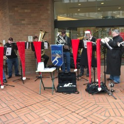 Musicians and carolers are still a big part of the holidays in Portland, Oregon.