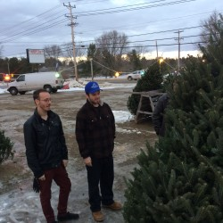 """Brothers Peter, left, and Benjamin Robishaw help their dad pick out a cut Christmas tree -- a family tradition. """"An artificial tree is a cop-out,"""" Benjamin Robishaw said."""