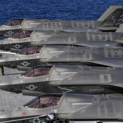 F-35B Lightning II supersonic aircraft line up for operational testing on the amphibious assault ship USS America in November.