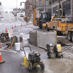 A crew was working to repair a service line leak on State Street in Bangor on Monday.