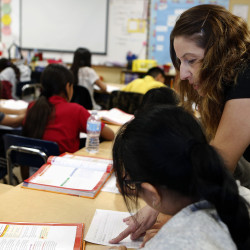 ngrid Villeda teaches health to fifth grade students on Nov. 17, 2016 at 93rd Street Elementary School in South Los Angeles, California.