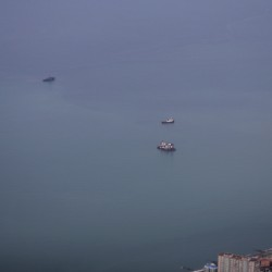 An aerial view from a plane shows vessels in the waters of the Black Sea during a search operation following the crash of the Russian Defence Ministry's Tupolev TU-154 near Sochi, Russia, Dec. 27, 2016.