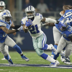 Dallas Cowboys running back Ezekiel Elliott (21) breaks free against the Detroit Lions in the first quarter of Monday's NFL game at AT&T Stadium in Arlington, Texas. The Cowboys won 42-21.
