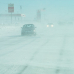 Blowing snow creates whiteout conditions in Aroostook County in a 2003 file photo.