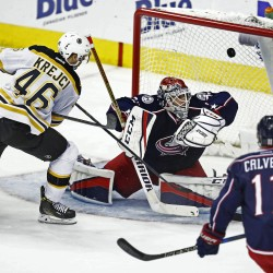 The Boston Bruins' David Krejci (46) scores on Columbus Blue Jackets goalie Sergei Bobrovsky (72) in the second period on Tuesday, Dec. 27, 2016, at Nationwide Arena in Columbus, Ohio. The Blue Jackets won 4-3.