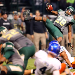 aylor Bears safety Orion Stewart (28) is upended as he returns a fourth-quarter fumble against the Boise State Broncos during the Cactus Bowl at Chase Field. Baylor defeated Boise State 31-12.