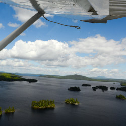 An aerial view of Moosehead Lake from a Cessna 180 Skywagon float plane can be seen during the 43rd International Seaplane Fly-In in Greenville.
