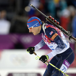 Russell Currier competes during the men's individual biathlon of the Sochi 2014 Olympic Winter Games at Laura Cross-Country Ski and Biathlon Center in Krasnaya Polyana, Russia.