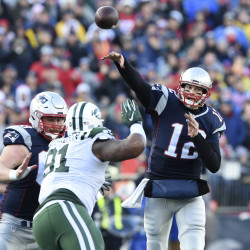 New England Patriots quarterback Tom Brady throws the ball during the first half against the New York Jets on Sunday at Gillette Stadium in Foxborough, Massachusetts.