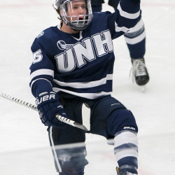 Tyler Kelleher of the University of New Hampshire, pictured during a Dec. 3 game in Orono, scored two goals and provided two assists on Friday night to lead the Wildcats to a 6-4 hockey victory over the University of Maine in Manchester, New Hampshire.