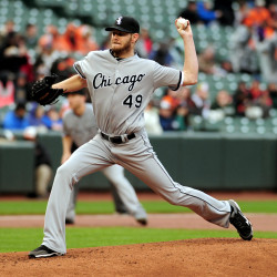 Chicago White Sox pitcher Chris Sale throws a pitch in the first inning against the Baltimore Orioles at Oriole Park at Camden Yards on May 1.