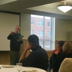 Sen. Angus King gives remarks on local agriculture and aquaculture during the 2016 Maine Food Network Gathering on Friday at the University of Maine in Orono.