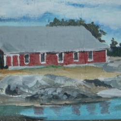"""One of the small-space local landscape paintings by Kathryn Calhoun that will be for sale on Saturday, Dec. 10, at Humble View Studio's """"pop-up"""" store on the  2nd floor of the Old Brooklin School, 29 Reach Road, from 10-5 p.m. Beach-find ornaments and other giftable items will also be available.  The pop-up store is one of several venues in Brooklin set to welcome merrymakers and shoppers that day."""