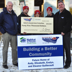 Patriot Subaru donates $45,000 to Habitat For Humanity/Greater Portland Maine.  L-R Godfrey Wood, Executive Director HFH/GP, with Patriot Subaru associates, Dustin Kimball, Kaitlyn Leavitt, Zack Smith, and Brian Beattie.