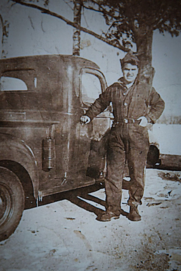 An old, undated photo shows Phil Gouzie, 94, when he was serving in Civilian Conservation Corps in Bridgton.