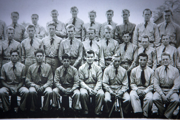In a photo taken at a Bridgton Civilian Conservation Corps camp in 1940, Phil Gouzie, now 94, is seated fourth from the right, in the first row.