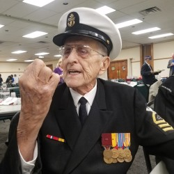 Pearl Harbor survivor Robert Coles of Machias talks about being at Pearl Harbor during the Dec. 7, 1941 attack by Japanese forces during a World War II veterans appreciation dinner in October.