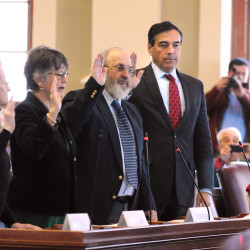 Maine electors of the Electoral College are sworn in before voting for president and vice president of the United States at the State House in Augusta Monday afternoon. The four electors cast three ballots for Hilary Clinton and one for Donald Trump. Pictured from left are Betty Johnson, Diane Denk, David Bright and Richard Bennett.