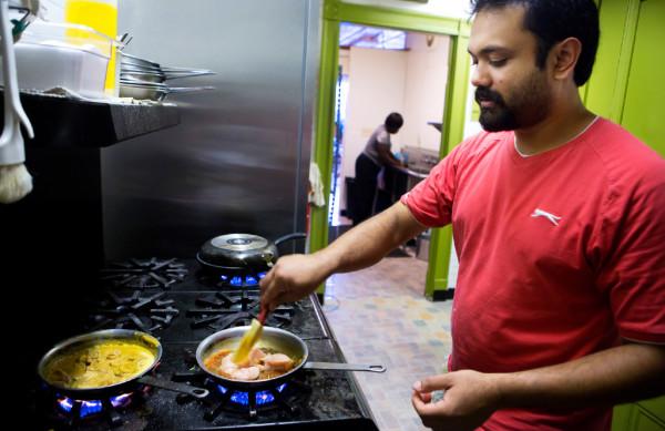 Sanjeeva Abeyasekera cooks up a dish at his restaurant, Serendib, in Ellsworth.