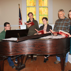 From Lt to Rt: Colin Graebert, Leander Andrews, Maggie Goscinski, Andre Blanchard, and Chesley Lovell rehearse for the show.