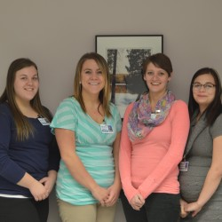 PHOTO left to right: Michelle Kelly, Patient Financial Counselors, Danielle Levesque, Patient Account Representative, Shawna Larrabee, Patient Account Representative, and Brooke Saucier, Patient Financial Specialist