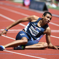 Isaiah Harris of Lewiston, pictured after running the 800 meters at last summer's U.S. Olympic Trials, is the No. 2-ranked collegiate runner in that event this winter.