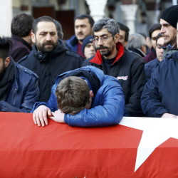 Relatives react at the funeral of Ayhan Arik, a victim of an attack by a gunman at Reina nightclub, in Istanbul, Turkey, on Jan. 1.