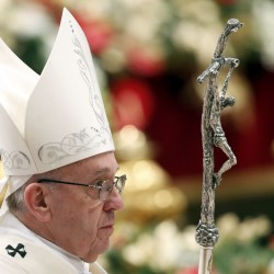 Pope Francis leaves at the end of a mass on New Year's Day at Saint Peter's Basilica at the Vatican, Jan. 1, 2017.