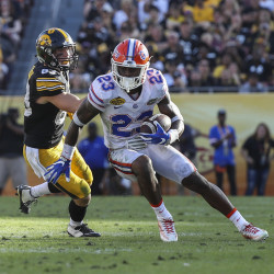 Florida Gators defensive back Chauncey Gardner (23) intercepts a pass intended for Iowa Hawkeyes wide receiver Riley McCarron (83) in the second half at Raymond James Stadium.