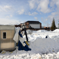 Air-supported indoor practice facility Mahaney Dome, which collapsed under the pressure of heavy snow that fell Thursday night into Friday, can be seen on Friday at the University of Maine in Orono.