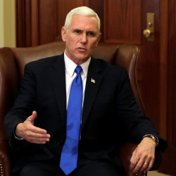 Vice President-elect Mike Pence speaks during a meeting with House Speaker Paul Ryan on Capitol Hill in Washington, Nov. 30, 2016.