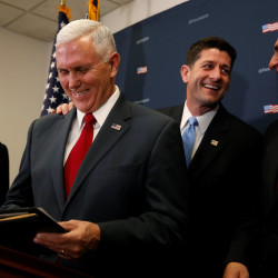 U.S. Vice President-elect Mike Pence (2nd L) joins House Republicans, including Speaker Paul Ryan (R-WI) (2nd R), Majority Leader Kevin McCarthy (R-CA) (R) and Representative Cathy McMorris Rodgers (R-WA) (L), to speak to reporters after meeting with the Republican House caucus at the U.S. Capitol in Washington, Jan. 4, 2017.