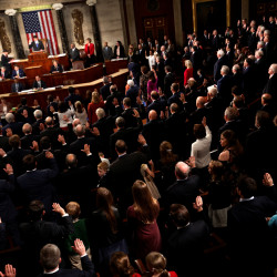 Members of the U.S. House of Representatives are sworn in on the House floor on the first day of the new session of Congress.