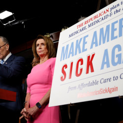 Senate Democratic Leader Chuck Schumer and House Democratic Leader Nancy Pelosi speak following a meeting with President Barack Obama on congressional Republicans' effort to repeal the Affordable Care Act on Capitol Hill in Washington on Wednesday.