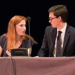 Zoe Seaman-Grant of Charleston, South Carolina, and Matthew Davis of Chicago, members of the Brooks Quimby Debate Council at Bates College, advanced to the quarter-finals of the World Universities Debating Championship on Tuesday in The Hague, Netherlands. A team from the University of Sydney in Australia was named the winner.