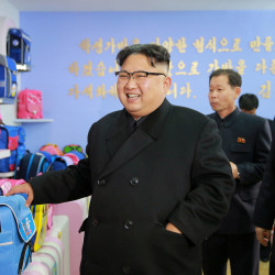North Korean leader Kim Jong Un visits a newly built Pyongyang bag factory in this undated photo released by North Korea's Korean Central News Agency, Jan. 5, 2017.