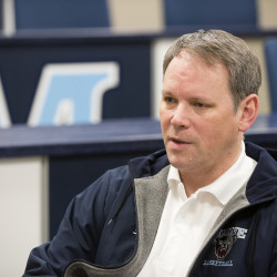 University of Maine women's basketball coach Richard Barron, pictured during a 2016 interview in Orono, went on indefinite medical leave on Friday. Associate head coach Amy Vachon will direct the team in Barron's absence.